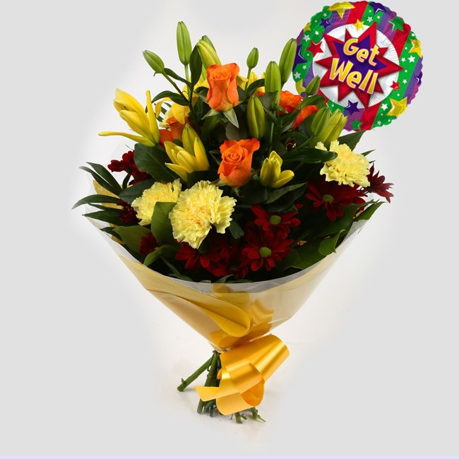 additional image for Get Well Balloon & Aztec Yellow Bouquet