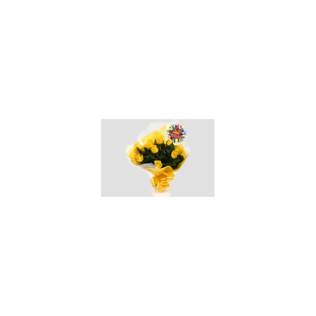 additional image for Birthday Balloon & 12 Yellow Roses Bouquet