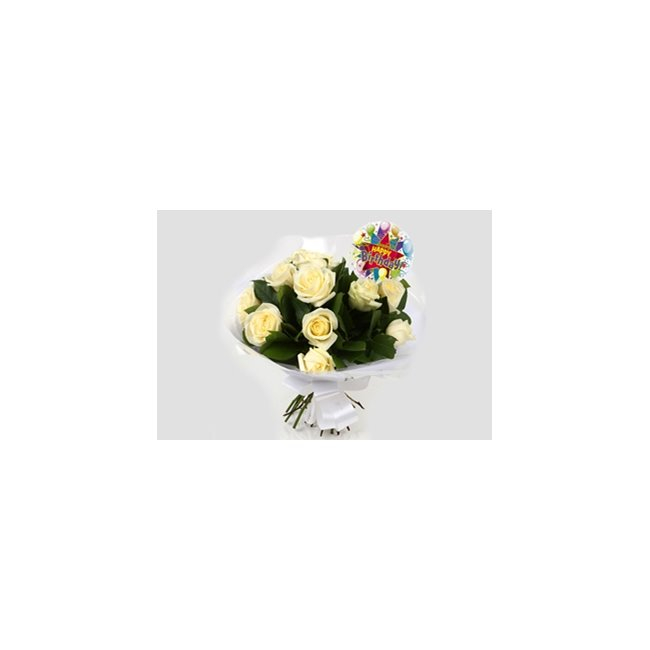 additional image for Birthday Balloon & 12 White Roses Bouquet