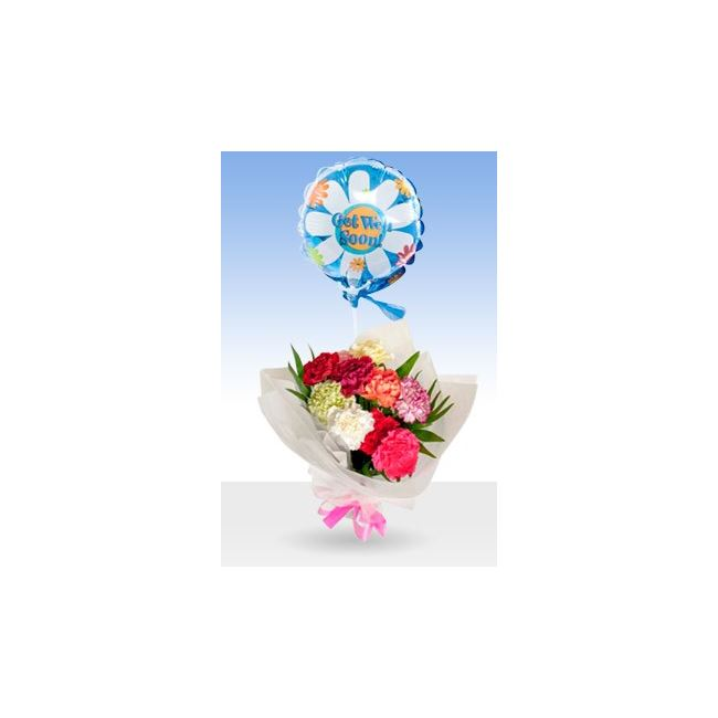 Classic Luxury Bouquet Get Well Balloon & Bouquet