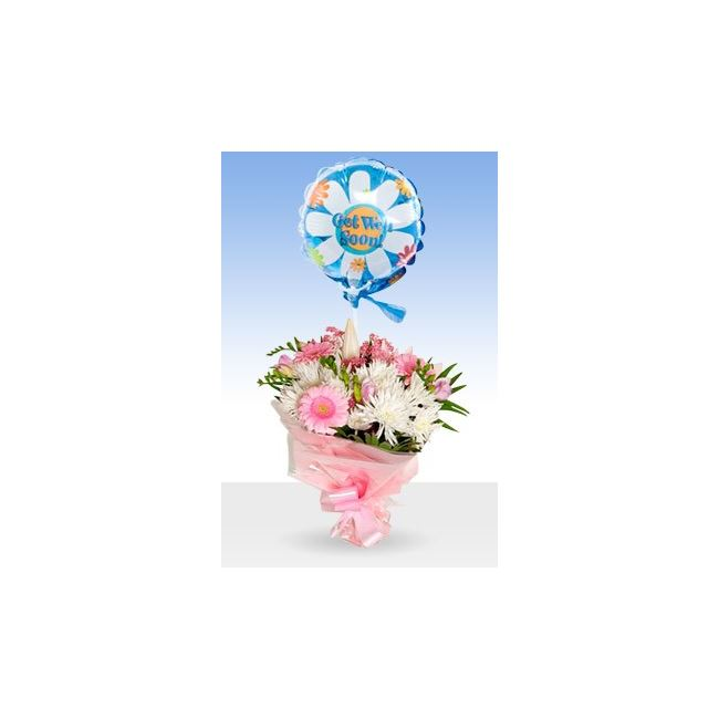 Pink Radiance Get Well Balloon & Bouquet