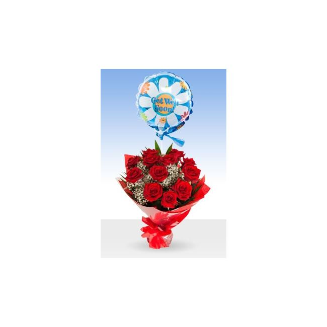 Classic 12 Red Roses Get Well Balloon & Bouquet
