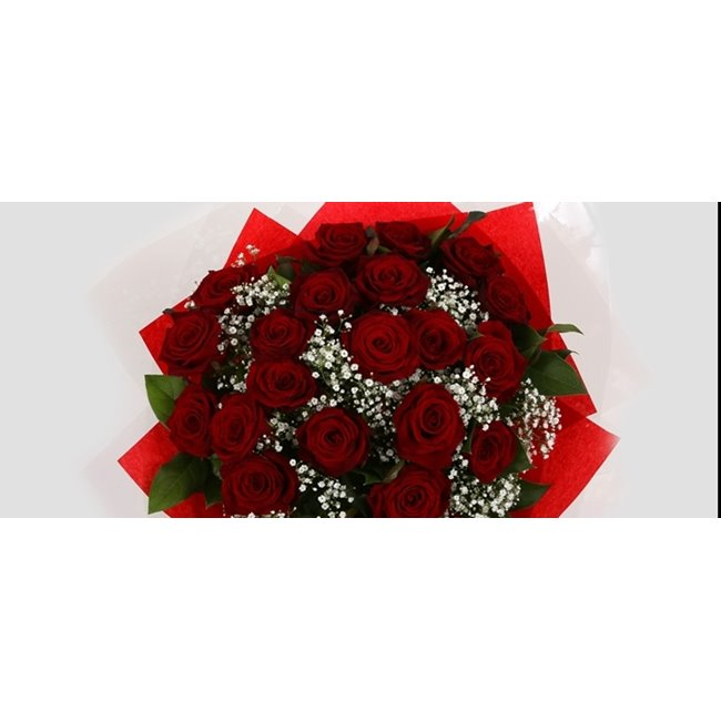additional image for 24 Red Roses With Gypsophila