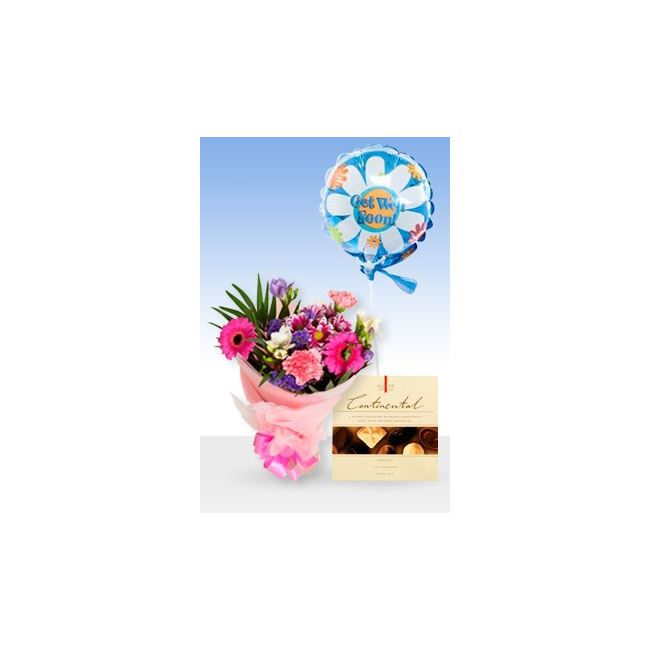 Delightful Pink Get Well Balloon & Chocs