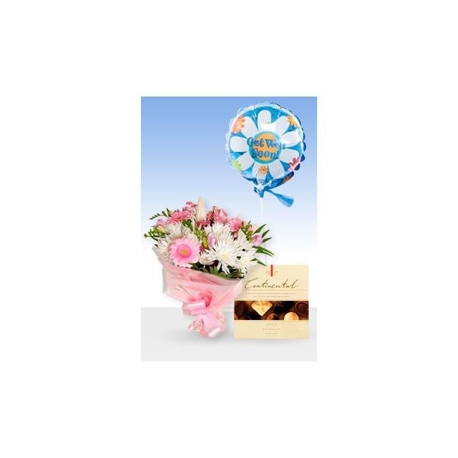 Pink Radiance Get Well Balloon & Chocs