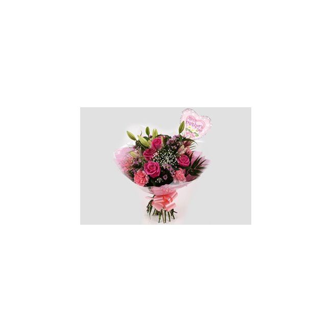 additional image for Mothers Day Balloon & Pink Crystal Bouquet