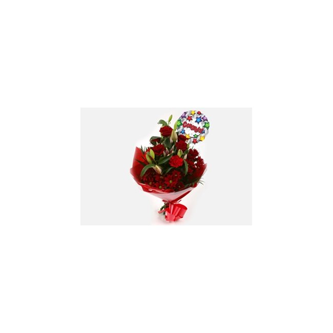 additional image for Congrats Balloon & Red Roses Lilly Bouquet