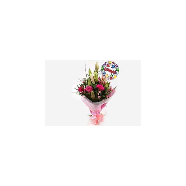 additional image for Congrats Balloon & Pink Florence Bouquet