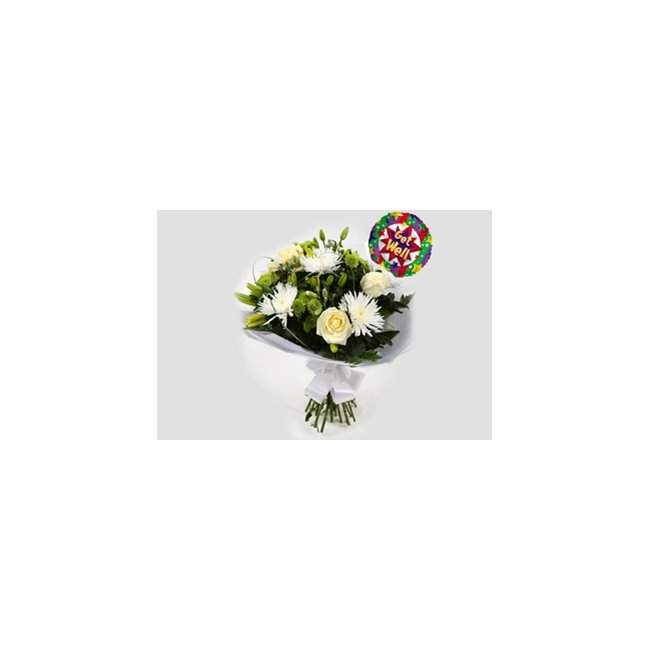 additional image for Get Well Balloon & Golden Cream Bouquet