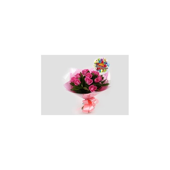 additional image for Birthday Balloon & 12 Pink Roses Bouquet