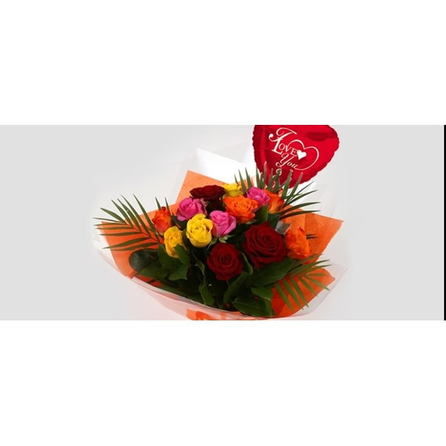 additional image for Love You Balloon & Roses Galore Bouquet