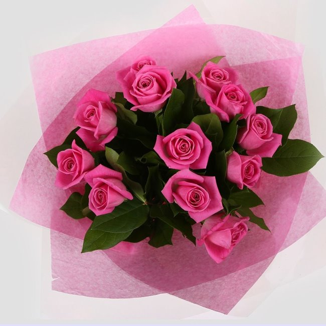 additional image for 12 Pink Roses Bouquet-Clear Savings-Clear Prices-Compare The Quaility