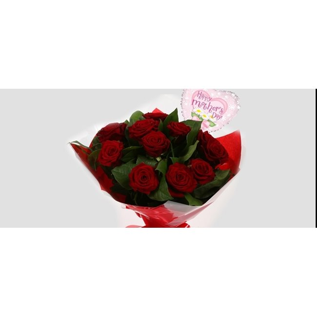additional image for Mothers Day Balloon & 12 Red Roses