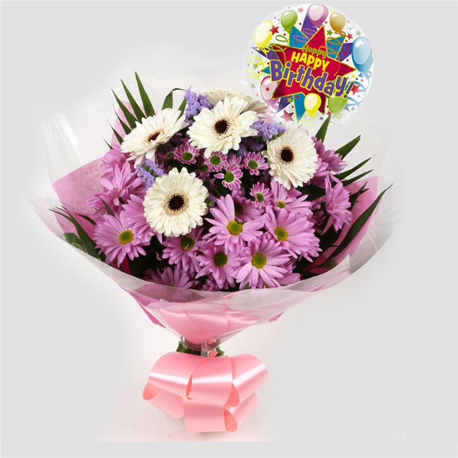 additional image for Birthday Balloon & Pink Santini Bouquet