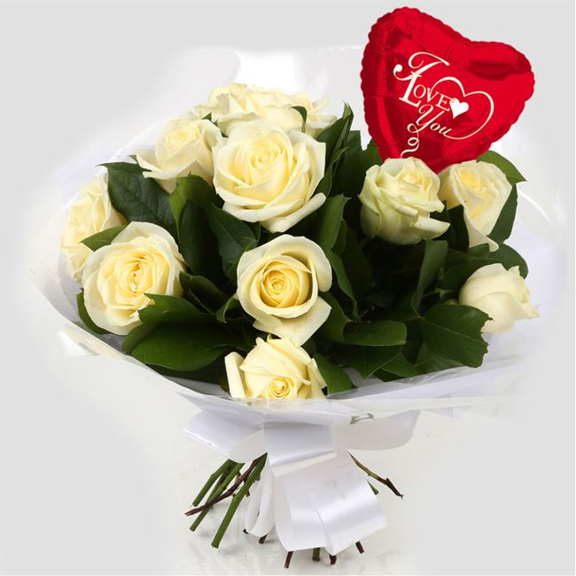 Love You Balloon & 12 White Roses Bouquet