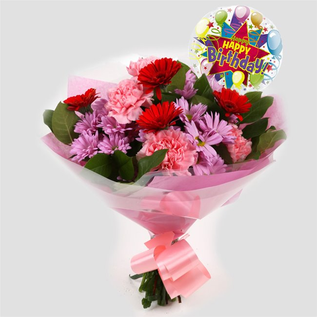 additional image for Birthday Balloon & Pink Mystique Bouquet