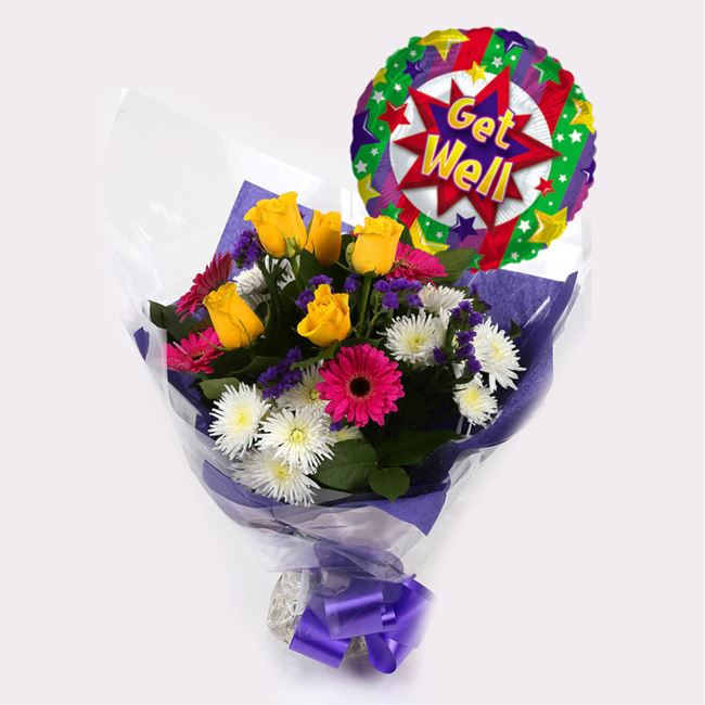 Get Well Balloon & Starburst Bouquet-Clear Savings-Clear Prices