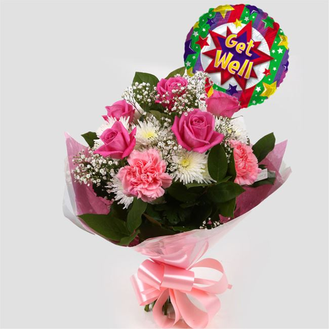 Get Well Balloon & Strawberry Pink Blush  Bouquet
