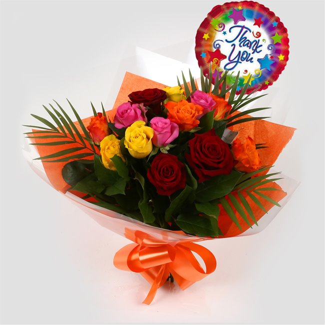 additional image for Thank You Balloon & Roses Galore Bouquet
