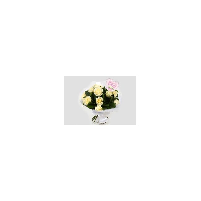 additional image for Mothers Day Balloon & 12 White Roses