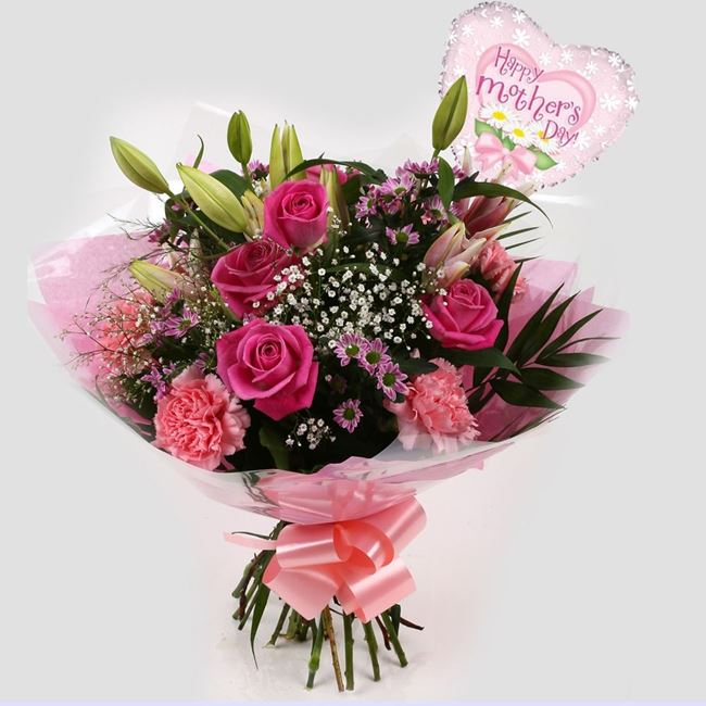 Mothers Day Balloon & Pink Crystal Bouquet