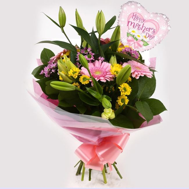 Mothers Day Balloon & Florist Meadow Bouquet