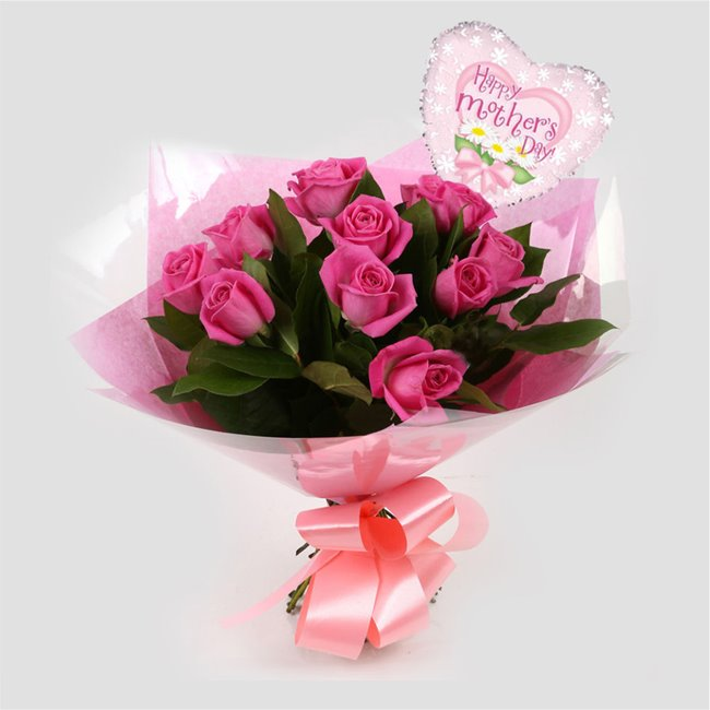 additional image for Mothers Day Balloon & 12 Pink Roses