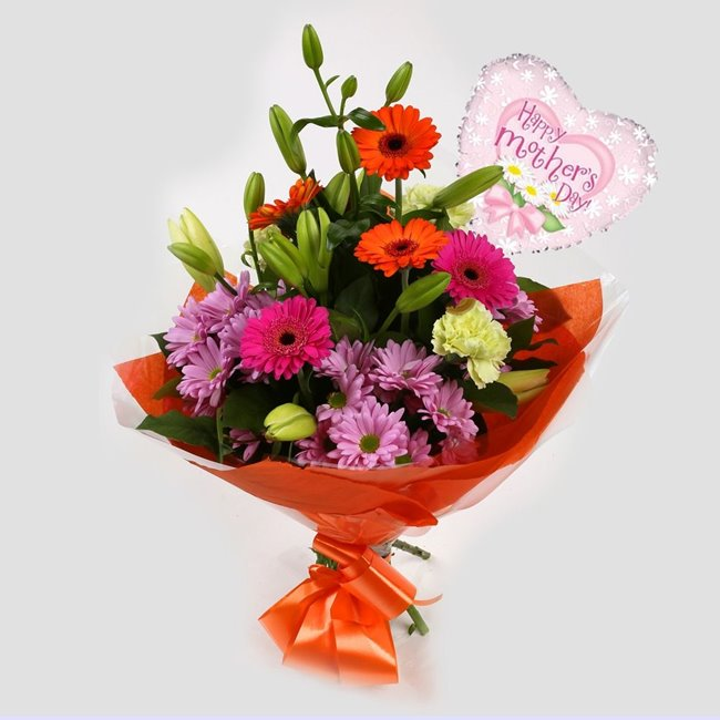 additional image for Mothers Day Balloon & Colour Burst Bouquet
