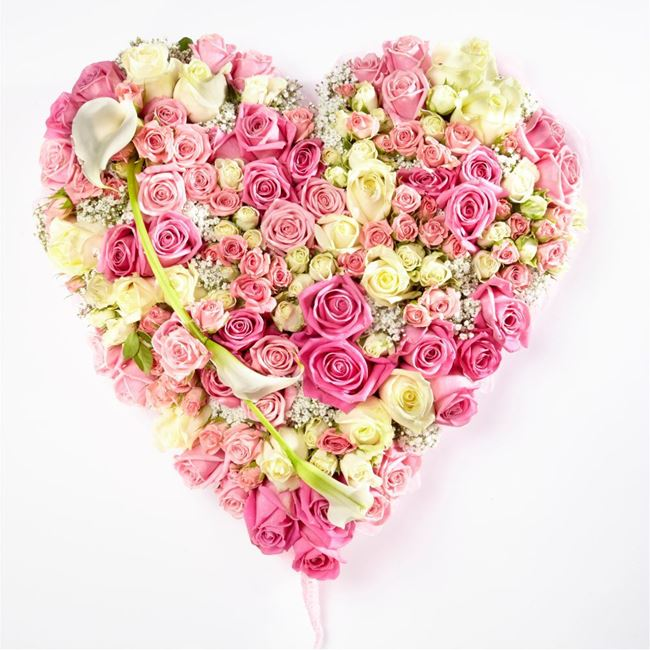 LUXURY PINK & WHITE ROSES HEART