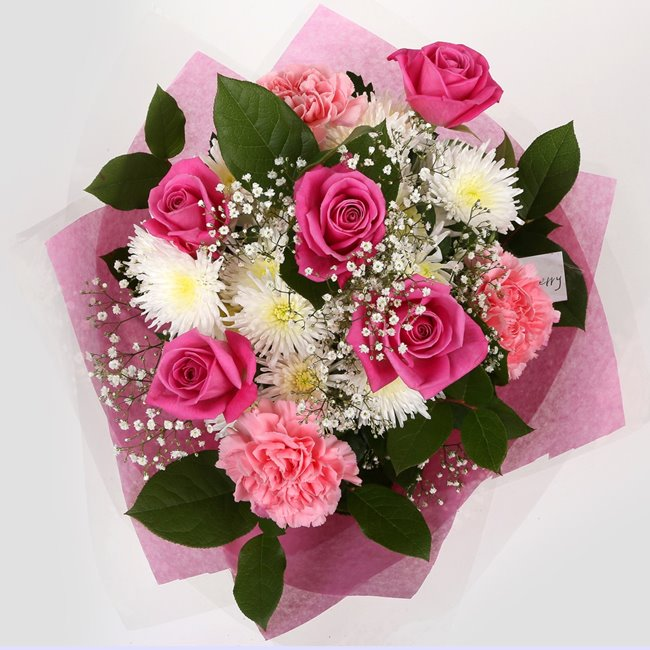 additional image for Get Well Balloon & Strawberry Pink Blush  Bouquet