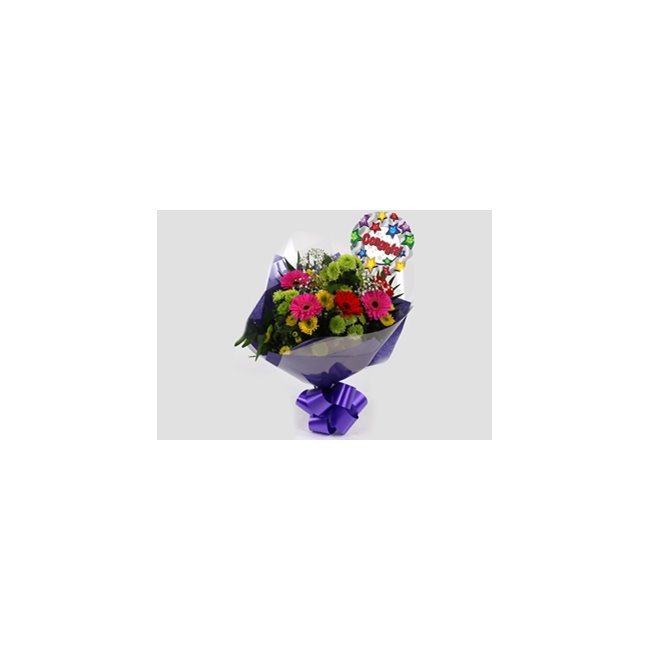 additional image for Congrats Balloon & Elegance Bouquet