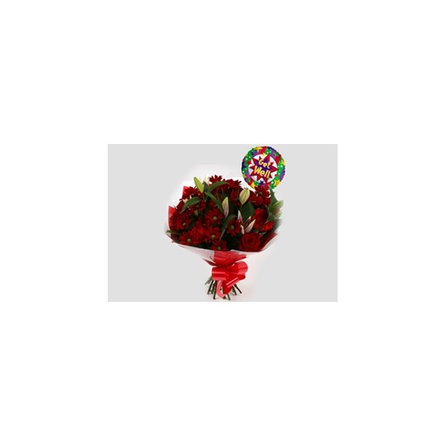additional image for Get Well Balloon & Red Rapture Bouquet