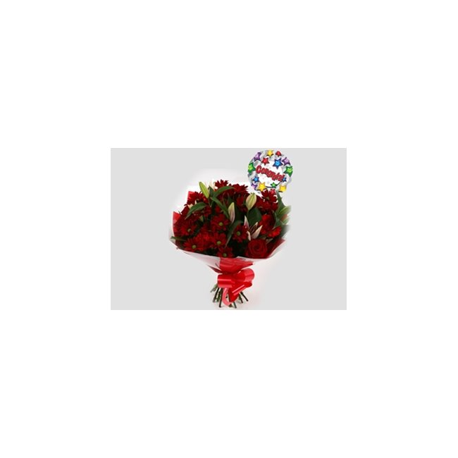 additional image for Congrats Balloon & Red Rapture Bouquet