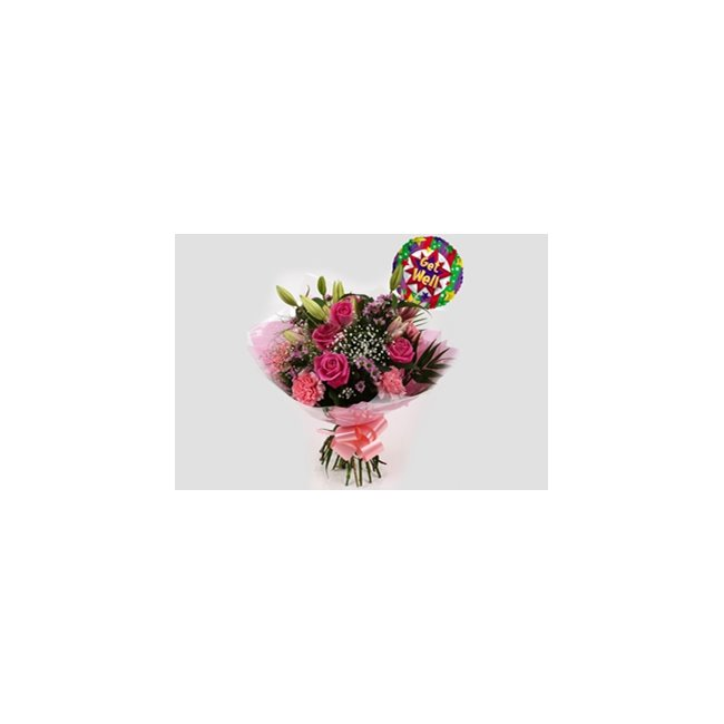 additional image for Get Well Balloon & Pink Crystal Bouquet