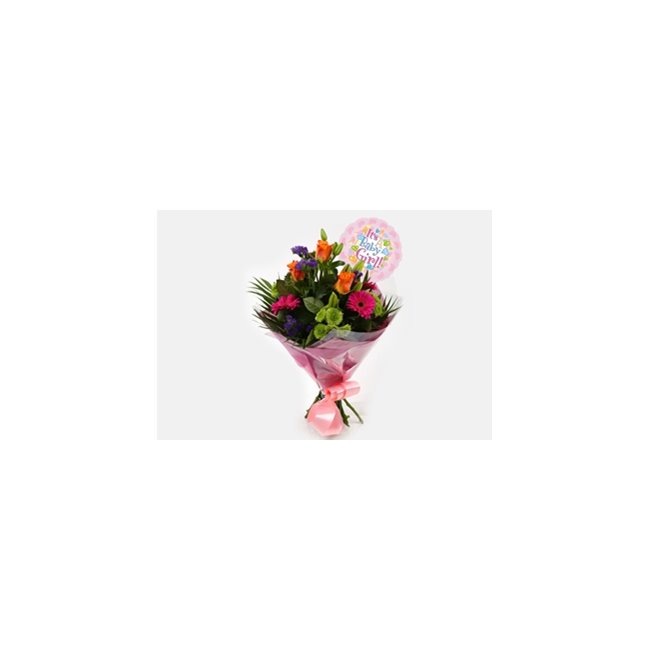 additional image for Its a Girl Balloon & Melody Bright Bouquet