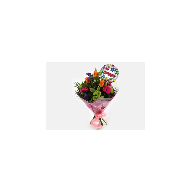 additional image for Congrats Balloon & Melody Bouquet