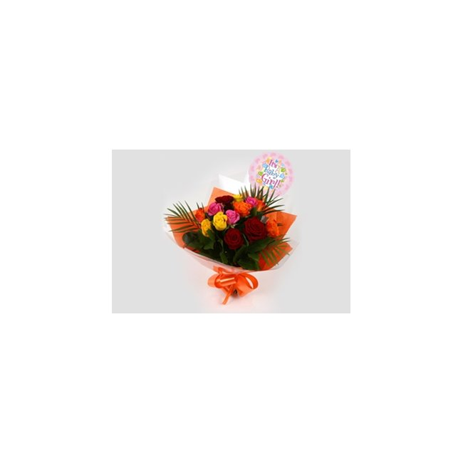 additional image for Its a Girl Balloon & Roses Galore Bouquet
