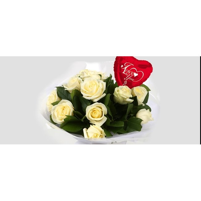 additional image for Love You Balloon & 12 White Roses Bouquet