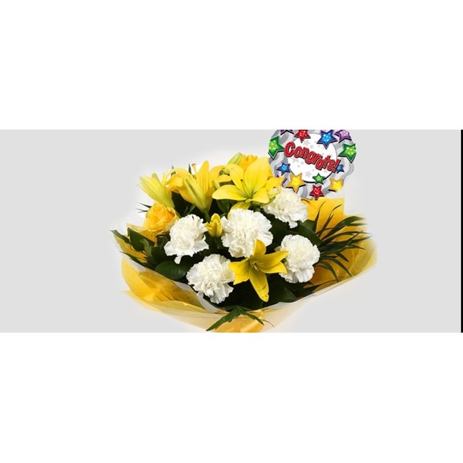 additional image for Congrats Balloon & Golden Sunshine Bouquet-Clear Savings-Clear Prices