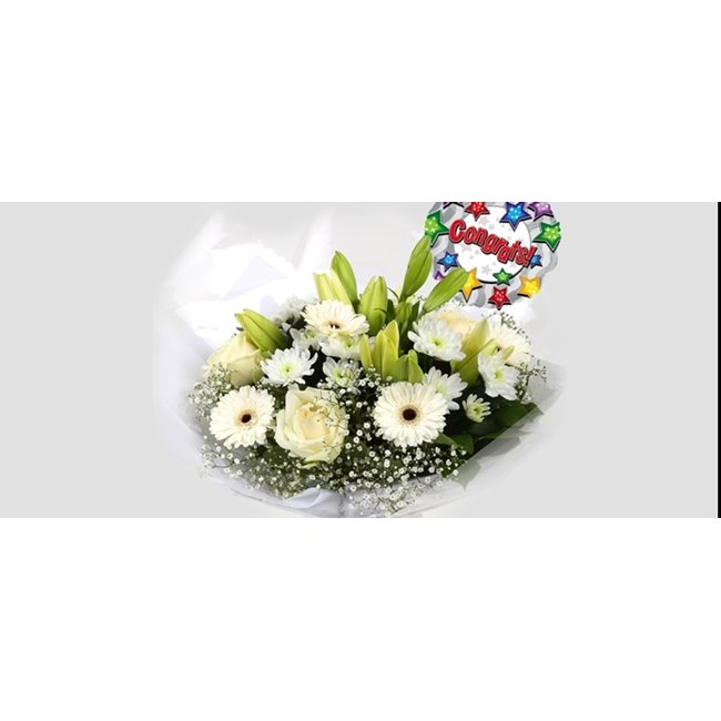 additional image for Congrats Balloon & White Petite Bouquet