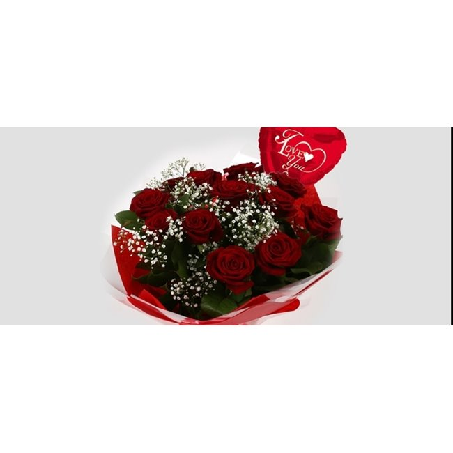 additional image for Love You Balloon & 12 Red Roses With Gypsophila