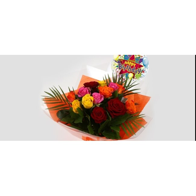 additional image for Birthday Balloon & Roses Galore Bouquet