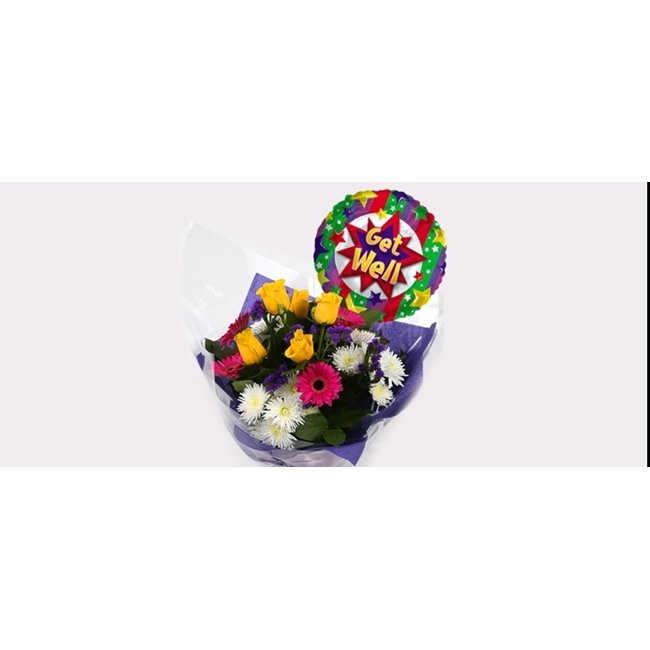 additional image for Get Well Balloon & Starburst Bouquet-Clear Savings-Clear Prices