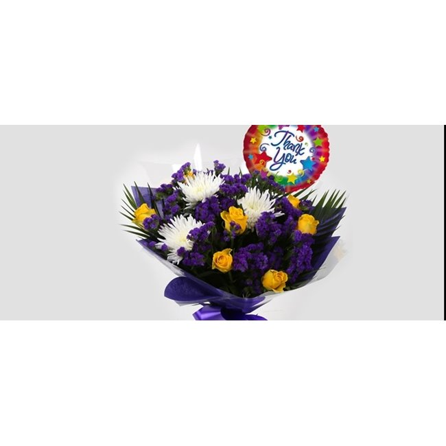 additional image for Thank You Balloon & Purple Moon Bouquet
