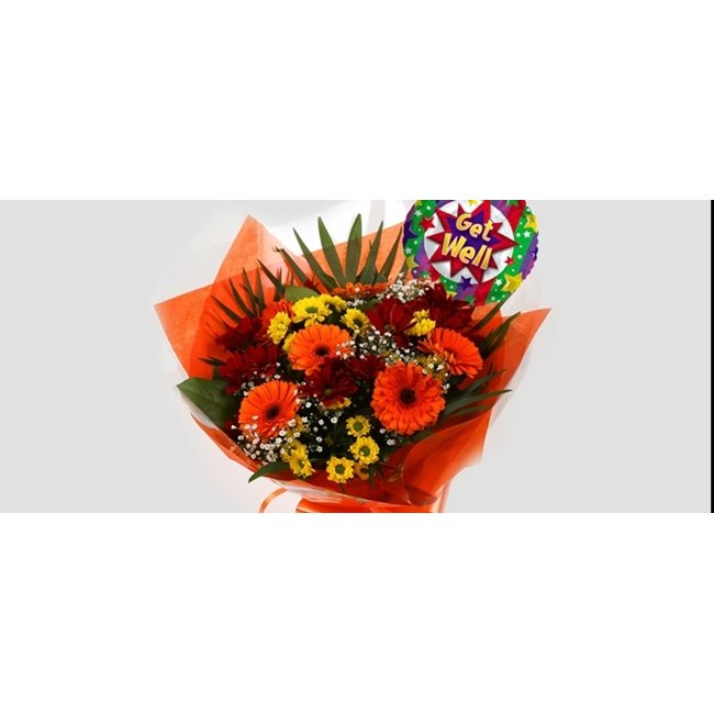 additional image for Get Well Balloon & Red Fall Bouquet -Clear Savings-Clear Prices