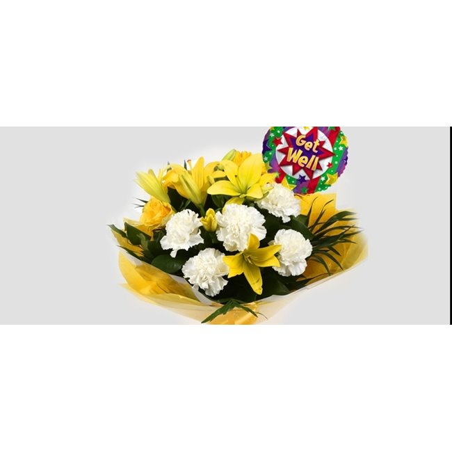 additional image for Get Well Balloon & Golden Sunshine Bouquet