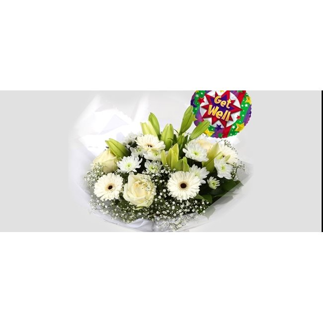 additional image for Get Well Balloon & White Petite Bouquet