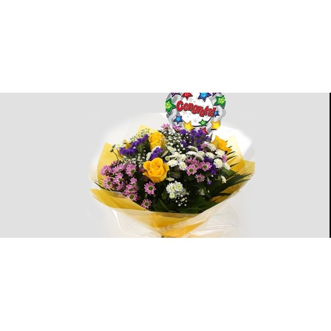 additional image for Congrats Balloon & Charm Bouquet