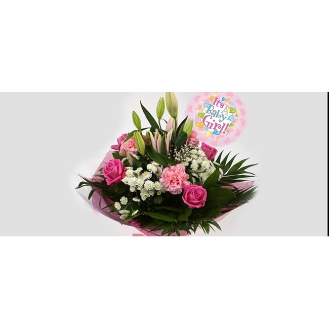 additional image for Its a Girl Balloon & Strawberry Sundae Bouquet
