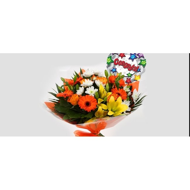 additional image for Congrats Balloon & Orange Burst Bouquet